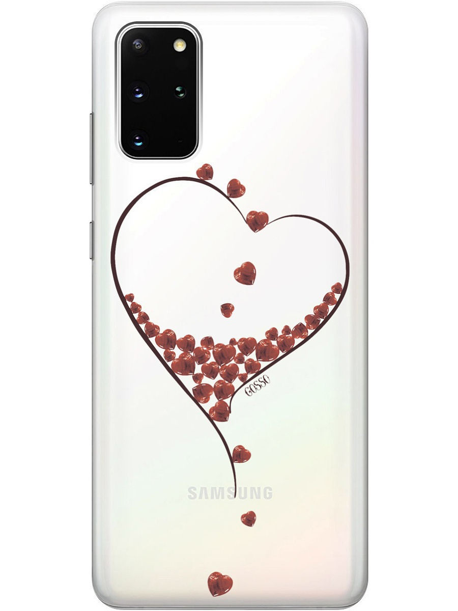 GOSSO CASES / Чехол ClearView 3D для Samsung Galaxy S20+. Накладка Little hearts на Самсунг Галакси S20 Plus
