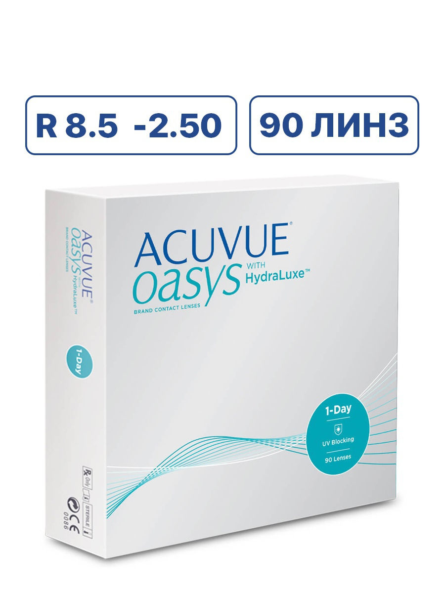 ACUVUE / Контактные линзы Acuvue OASYS 1-Day with HydraLuxe (90 линз) -2.50 R 8.5