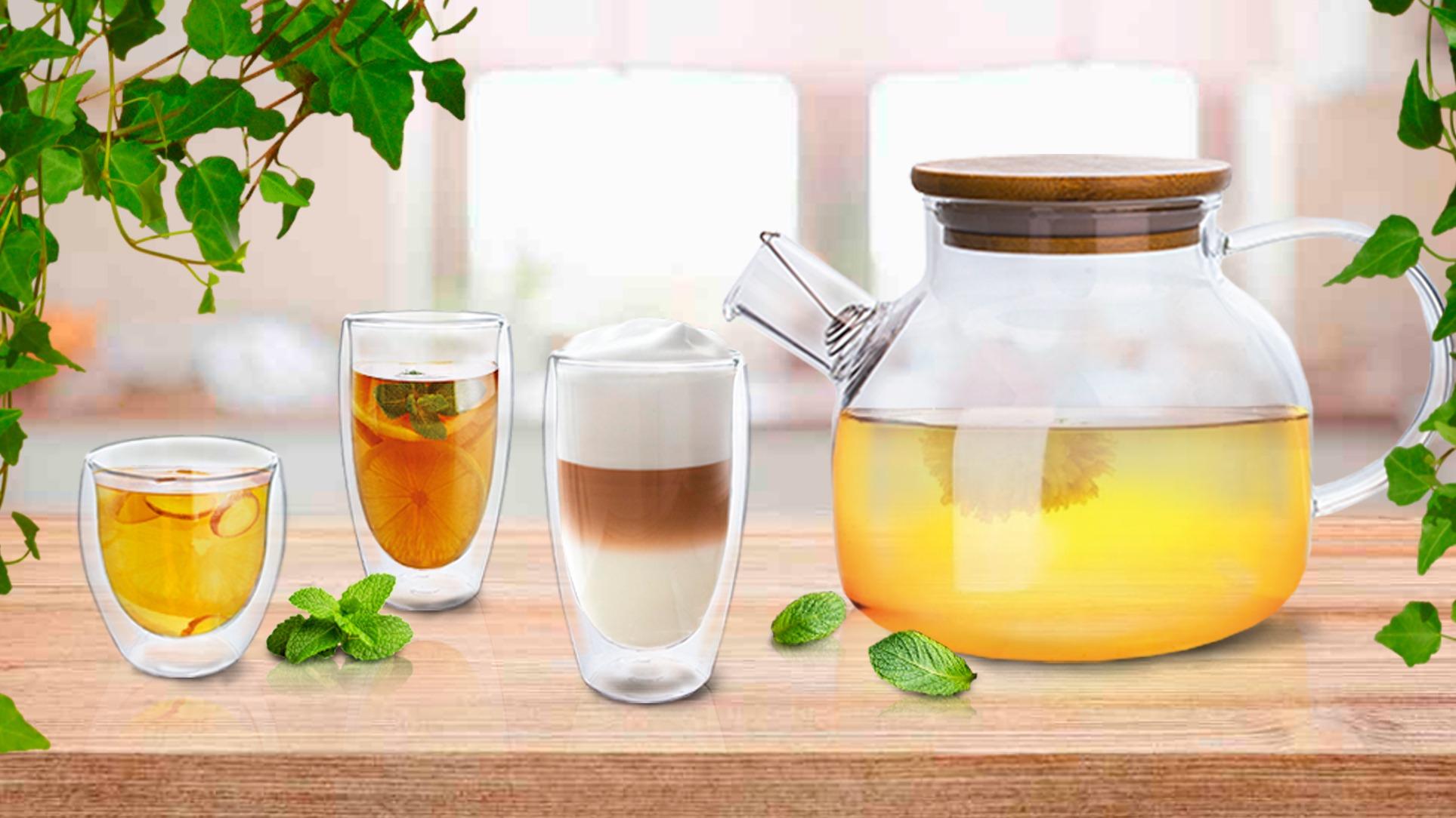 Готовим полезный и ароматный чай: бокалы с двойными стенками и заварочный чайник
