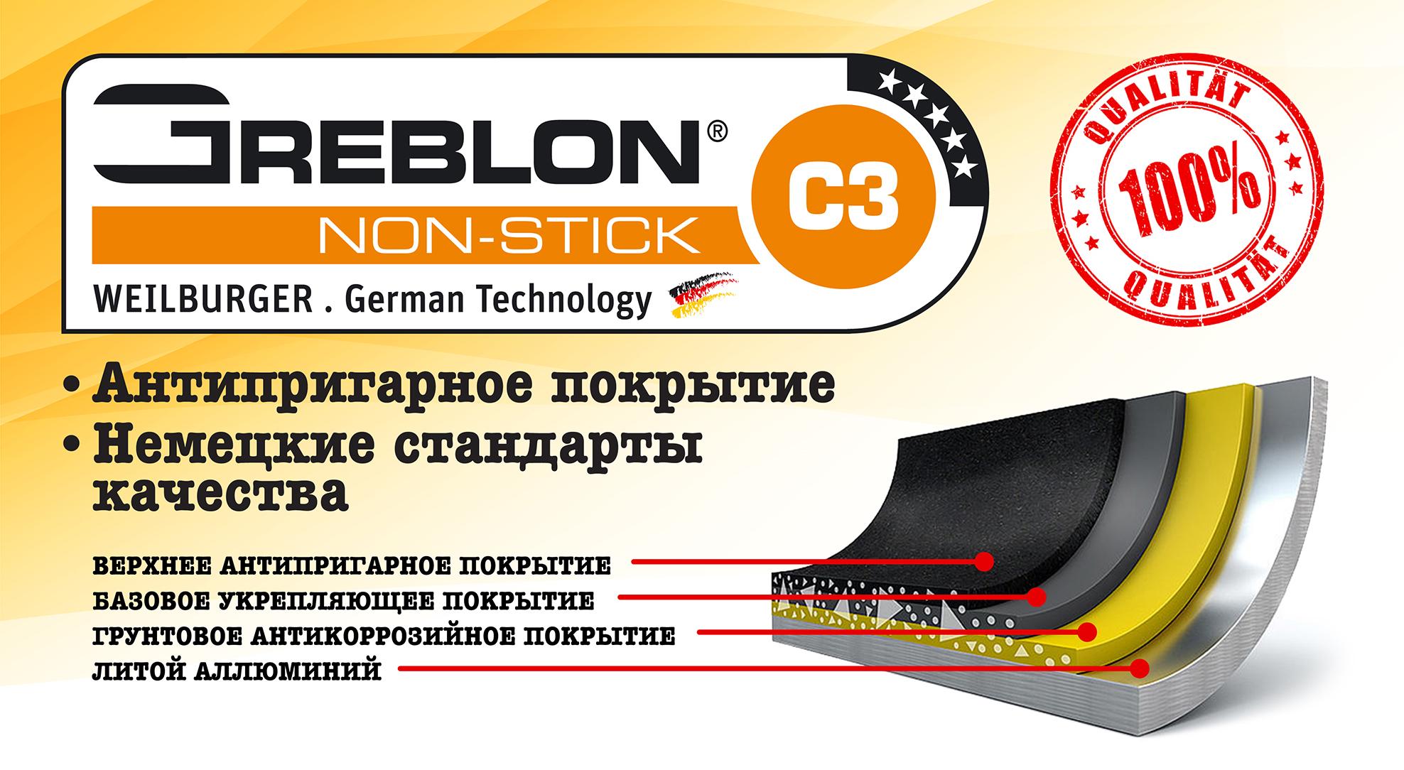 Инновации в антипригарном покрытии Greblon C3